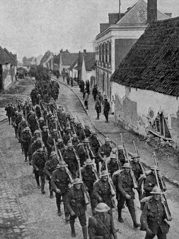 The Newfoundlanders marching back to billets after Monchy